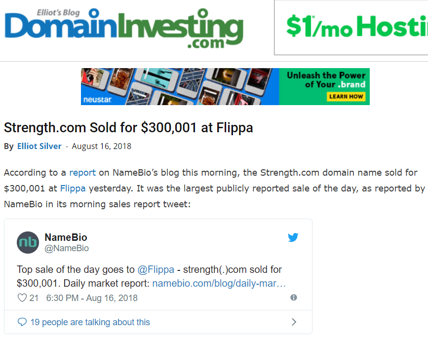 strength.com domain sold at flippa