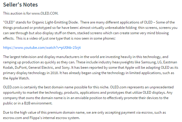 oled domain auction description
